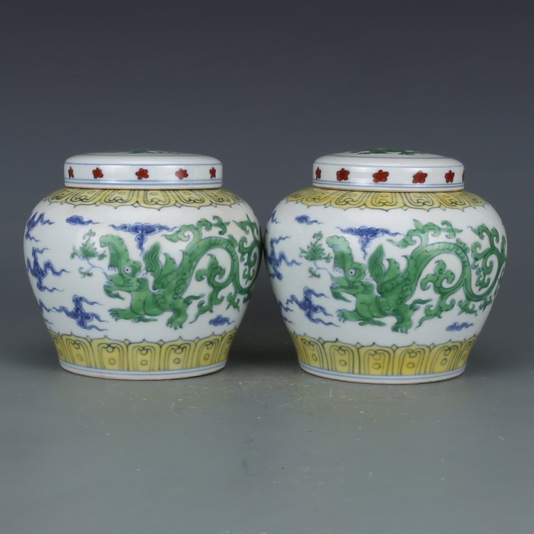 Pair of Chinese Doucai Porcelain Ginger Jars