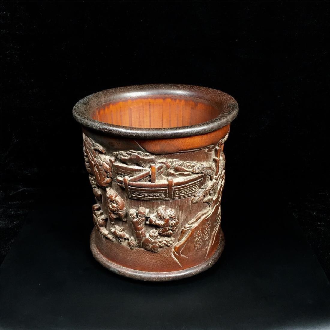 Chinese Bamboo Brush Pot - 6