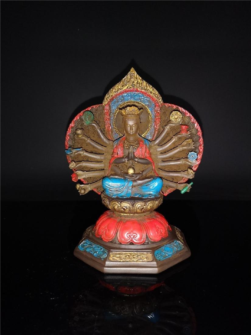 Chinese Peking-glass Display figure of Buddha - 2