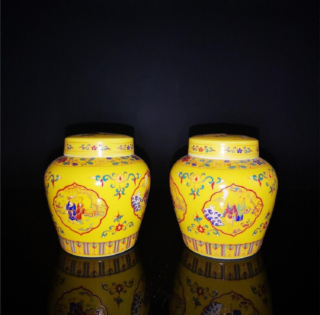 Pair of Chinese Doucai Porcelain Jars