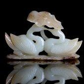 Chinese Qing Dynasty Hetian White Jade Nephrite Statu