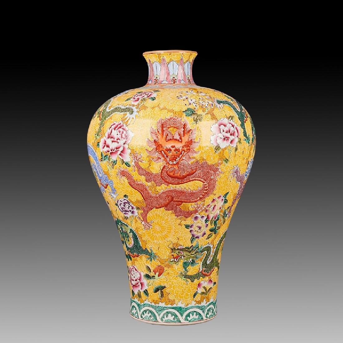 large Chinese Famille Rose Porcelain Vases