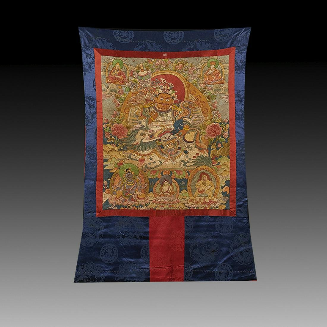 Embroidered Silk Tibetan Thangka