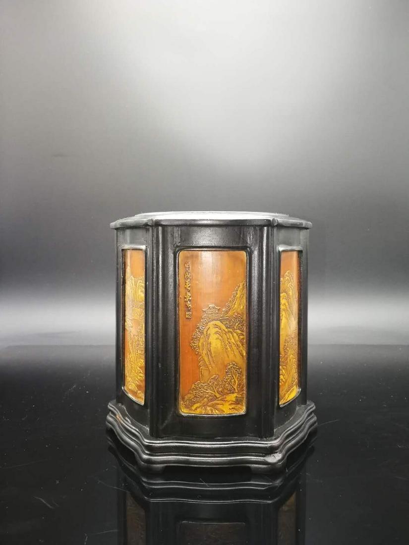 Chinese  Hard wood inlaid with bamboo Brush Pot
