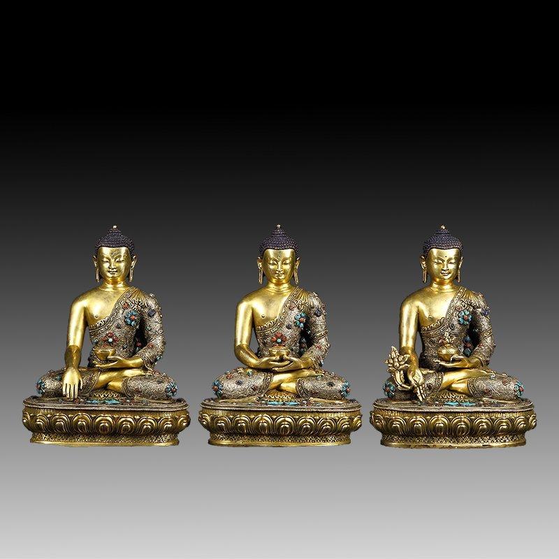 Three Chinese Qing Dynasty Tibetan Bronze Buddhas
