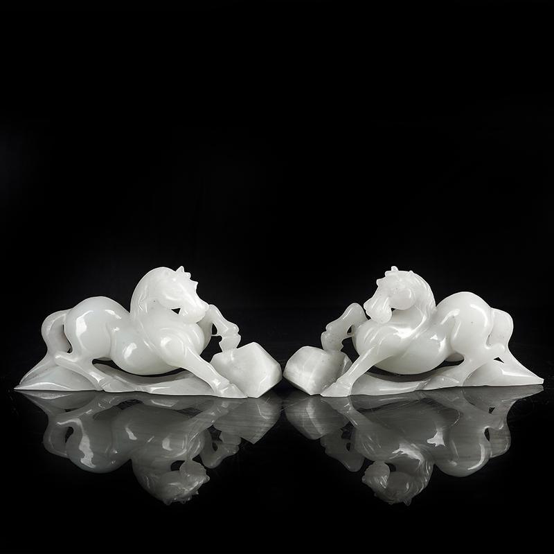 Pair of Chinese Hetian   White Jade Horses
