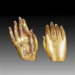 Pair of Chinese Gilt Bronze Buddha Statue Of  Hands