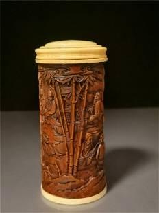 Chinese Boxwood Incense tubular