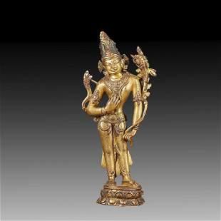 Chinese Gilt Bronze Buddha Statue Of Buddha.