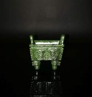 Chinese Hetian Green Jade Tripod Censer