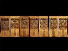 Chinese Seven of silk buddhist thangkas