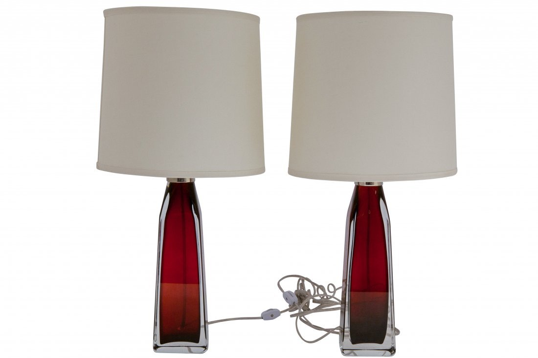 "Carl Fagerlund: Pair of Orrefors ""Orion"" Lamps"
