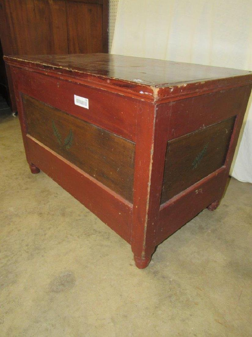 Early painted blanket chest with carved till - 2