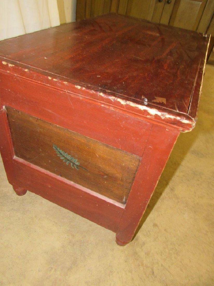 Early painted blanket chest with carved till - 3