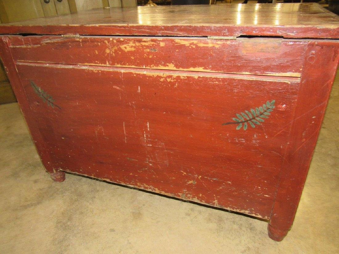 Early painted blanket chest with carved till - 4