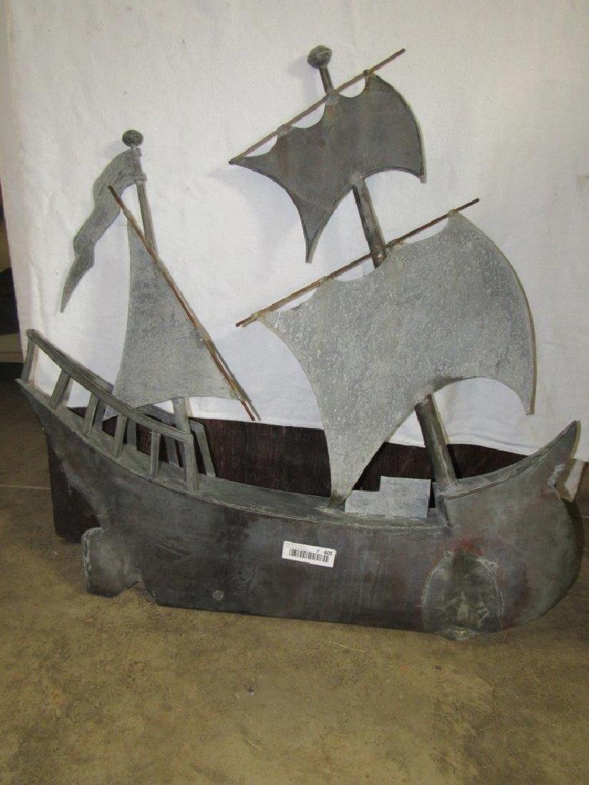 Copper sailboat weathervane topper