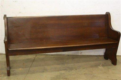 Antique Oak Church Pew Curved Bench
