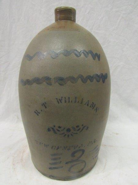 R. T. Williams 3 gal. decorated stoneware jug
