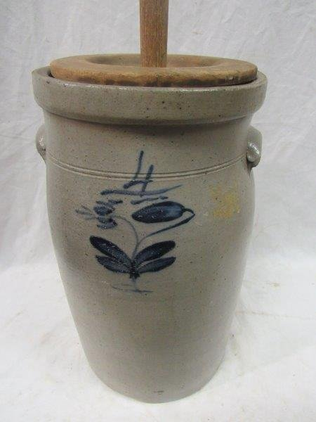 4 gal. decorated stoneware churn crock