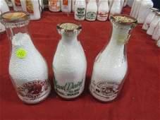 3 1 quart glass milk bottles