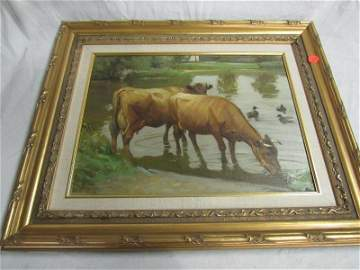 Edsberg Jersey Cow Painting Framed