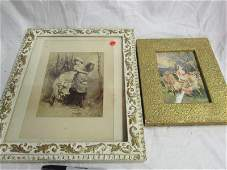 2 Early Jersey Cow and Maiden PrintsLitho Framed