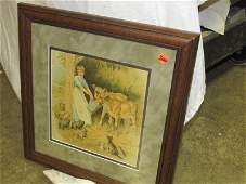 Jersey Cow and Barn Animal print matted and framed