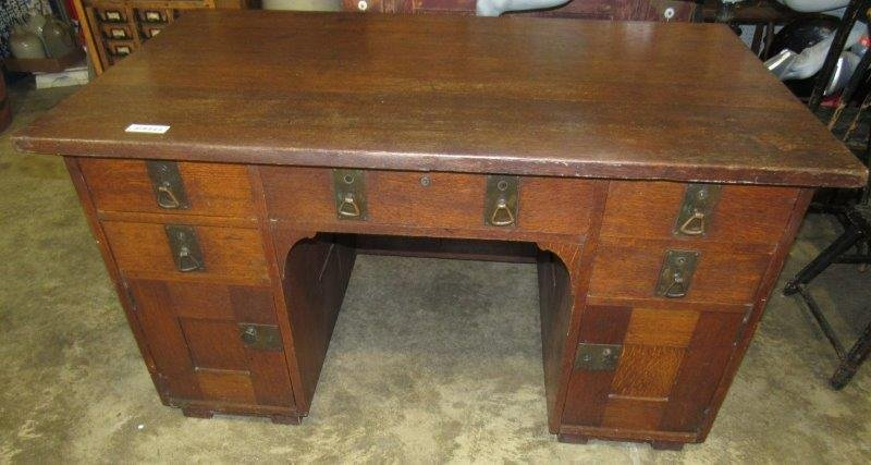 Oak Stickley-style executive desk made by Phoenix