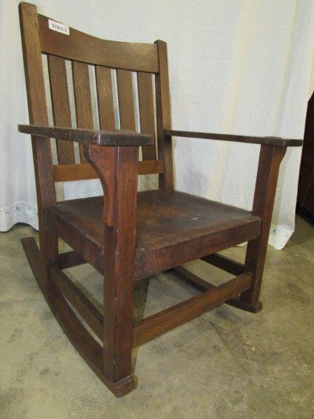 Gustav Stickley Oak rocking chair