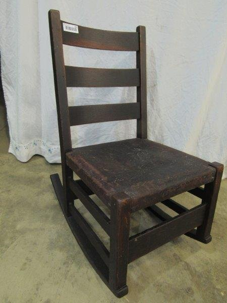 Gustav Stickley oak rocking chair
