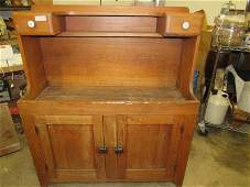 Early American oak hooded dry sink