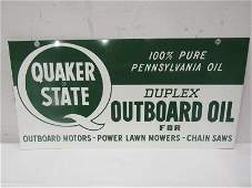 DST NOS Quaker State outboard oil sign