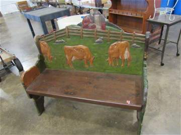 Carved wooden bench w/ jersey cows & farm scene