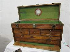 "Wooden ""Star"" brand felt lined machinist chest w/ key"