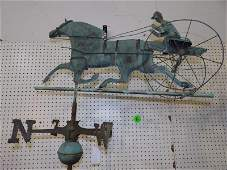 Copper horse, sulky & jockey weathervane