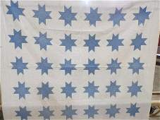 Vintage blue and white star quilt