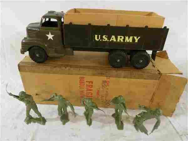 Marx Lumar army truck w/ 5- military figurines