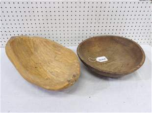 Primitive wood butter bowl & hand carved trench