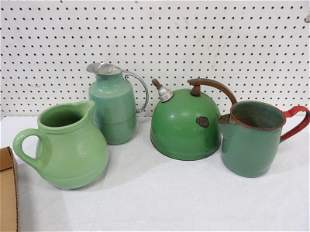 Collection of Green Decorative Teapots and Pitchers