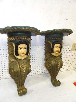 GREAT Pair of Carved Painted Ship Nautical Figureheads