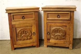 Pair of 20th Century Rustic Pine Nightstands