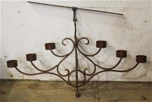 Large 6 Light Wrought Iron Candle Chandelier