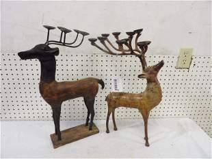 Two Metal Decorative Deer Candle Sticks