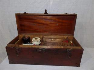 Wooden tackle box with early fishing supplies
