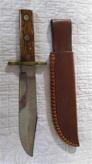 Lg. Homemade fixed blade knife w/ leather sheath