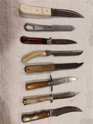 Eight various fixed blade knives