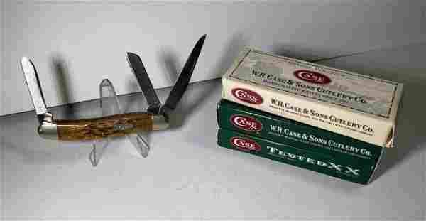Case XX 6318 CV 3 blade Stockman pocket knife with 4 ca