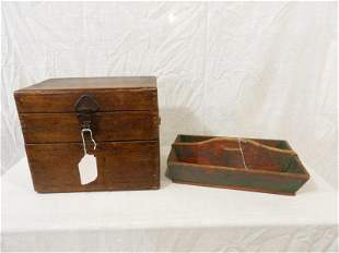 Dovetailed wooden trinket box and painted carrier