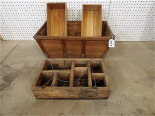 Wooden vegetable basket w/ 2 dovetailed boxes