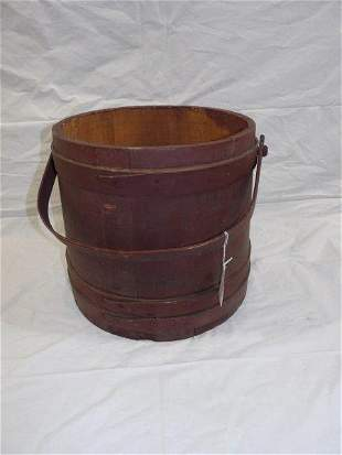 Large early firkin with original red paint
